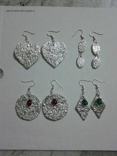 Aluminium foil earrings by Radhika