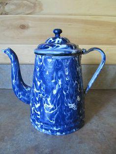 "Vintage Graniteware Enamel Ware Cobalt Blue Swirl Gooseneck Coffee Pot 8 1 2"" | eBay"