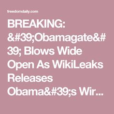 BREAKING: 'Obamagate' Blows Wide Open As WikiLeaks Releases Obama's Wiretapping 'Victim List' ⋆ Freedom Daily