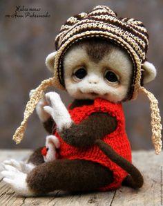 Купить Обезьянка Кроха - бежевый, коричневый, символ 2016 года, символ нового года