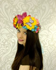 Tropical Flower Crown, Summer Bride, Floral Crown, Rainbow Flower Crown, Fairy Wedding, Woodland Wedding, Woodland Crown, Boho Hair Wreath by RuthNoreDesigns on Etsy