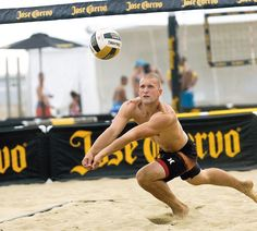 Dan Sempkowski dives for the ball during the match at the Jose Cuervo Pro Beach Volleyball Series' Belmar Open, held along the beaches in Belmar on June 22