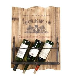 Wilco Imports 4-Bottle Metal Wine Wall Rack, 18-Inch by 5.75-Inch by 24.5-Inch by Wilco Imports. $63.82. Natural wood finish. Simple wall mount wine rack. Holds four bottles of wine. This wine rack is a wall mount wooden rack that holds four bottles of your favorite wine. The back is solid wood with an open style front so you can see your wine bottle lables. Measures 18-inch by 5.75-inch by 24.5-inch high.. Save 21% Off!