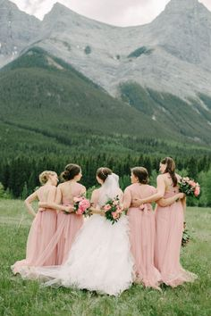 Pretty in pink: http://www.stylemepretty.com/canada-weddings/alberta/2016/02/12/pink-woodland-fairytale-mountain-wedding/ | Photography: Corinna Walker - http://www.corrinawalker.com/