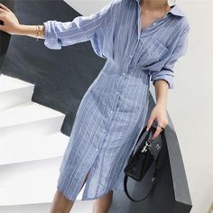 Autumn Women Dress Korean Style Slim Waist Striped Shirt Dress Long Sleeve Knee Length Ladies Elegant Midi Dress Vestidos Jurken - Shop Forest is a leading Online Store where you can purchase everything with upto discount. Striped Shirt Dress, Striped Long Sleeve Shirt, Long Sleeve Midi Dress, Long Sleeve Shirt Dress, Dress Long, Cotton Shirt Dress, Dress Shirt, Trend Fashion, Look Fashion