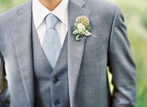 Virginia Wedding from Anne Robert Photography + Simply Chic Events + Holly Heider Chapple Flowers – Style Me Pretty Grey Tuxedo Wedding, Wedding Groom, Wedding Men, Wedding Suits, Wedding Blue, Grey 3 Piece Suit, 3 Piece Suits, Light Blue Grey Suit, Summer Wedding Attire