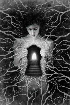 Black & white dream Imagination surreal art light from heart path to the heart