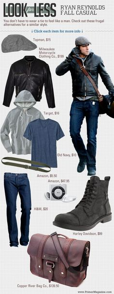 #StealHisStyle for Less: Ryan Reynolds in Fall Casual // Frugal alternatives for a similar style.