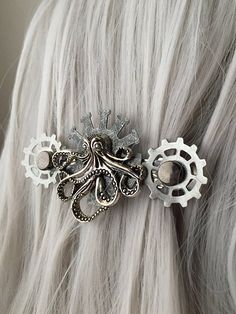 Barrettes Hair Clips Embossed Silver French Hair Clips Unique Hair Accessory Embossed Metal Handmade