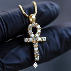 Solid 14K Yellow Gold Micro Harvey Ankh. Specially made for @sikonos  Available on *www.IFANDCO.com*. #CustomJewelry #IFANDCO