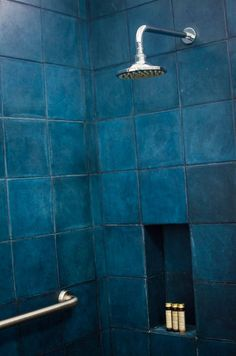 Not just any blue. This is indigo. Inky, deep, mysterious indigo. Perfect for a shower.