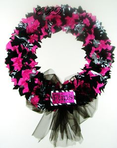 A beautiful Custom wreath I made for a gymnast...her nickname is 'Flips'!  So cute!  Zebra, hot pink, black, silver and plenty of sparkle!  $35.00