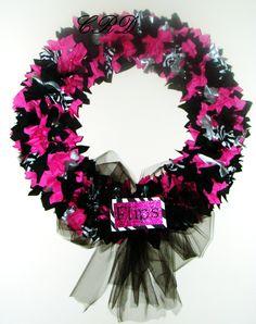 A beautiful Custom wreath I made for a gymnast...her nickname is 'Flips'!  So cute!  Zebra, hot pink, black, silver and plenty of sparkle!  $35.00