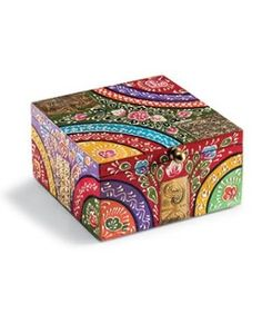 This Indian painted box is finished with embossed metal detailing, an ideal jewellery box. Handmade in India. Painted Wooden Boxes, Painted Jewelry Boxes, Hand Painted Furniture, Wood Boxes, Painting On Wood, Diy Painting, Cigar Box Crafts, Wooden Box Crafts, Bohemian Crafts