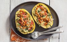 This casserole-style entrée uses the shells of spaghetti squash as a baking dish for a fun and easy vegan meal.