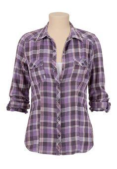 Maurices Premium Rhinestone Embellished Plaid Shirt