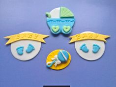 Baby themed handmade edible fondant cupcake toppers made by FancyTopCupcake on Etsy, $21.00