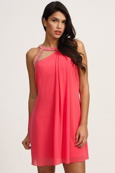 19daf8eeef1 Little Mistress Coral Embellished Keyhole Shift Dress Coral