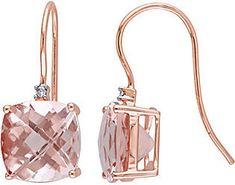 QVC 14K 6.00 cttw Cushion Cut Morganite Earrings