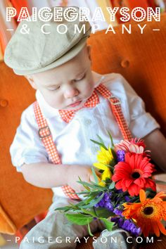 For my little ring boy Charming Boys Gingham Bow Tie and Suspenders by PaigeGrayson, $40.00