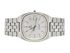 OMEGA, Seamaster, Cal 1342, Serial no. 42565741, Ref no. ST 396.0854, Case no. 196.0085 / 396.0854, men´s wristwatch, 35 mm, steel, quartz, sapphire crystal, date, defect, ATT: crown/setting stem missing, integrated original bracelet (damaged), folding clasp, Ref no. 1297/270, approx 1979. #omega #vintage #watches