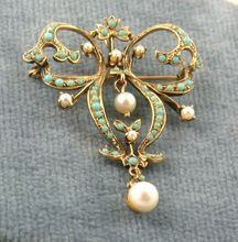 14K Turquoise Pearl Lavalier. Delicate.