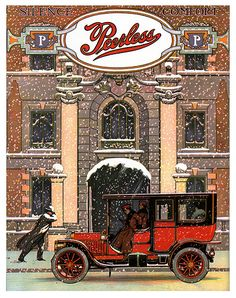 """1910 Peerless. Her ladyship enjoys the comfort of the """"closed car""""."""