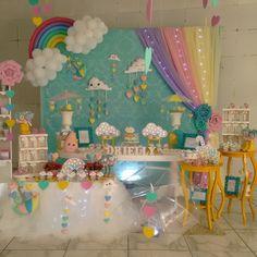 Birthday Party Rainbow Theme Baby Shower 16 Ideas For 2019 Rainbow Theme Baby Shower, Rainbow Birthday Party, Unicorn Birthday Parties, Baby Birthday, Baby Shower Themes, Unicorn Party, Rainbow Party Decorations, Birthday Party Decorations, Cloud Party