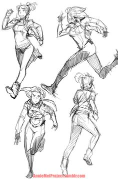 """anniemeiproject: """" Had to do some personal drawings for myself so here are some various running poses of Annie """""""