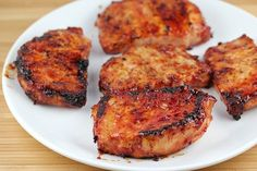honey garlic pork chops  Ingredients:  1 cup ketchup  1/3 cup honey  ¼ cup soy sauce  2 garlic cloves (minced)  1 1/2lbs boneless pork chops (6 4 oz portions)  salt and pepper