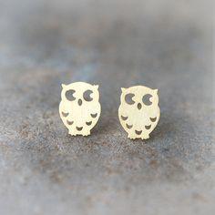 Cute Owl earrings in gold by laonato on Etsy, $13.50