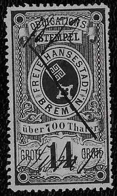 + 1863 Bremen German States Arms Key 14gr Revenue Bob Long Type used