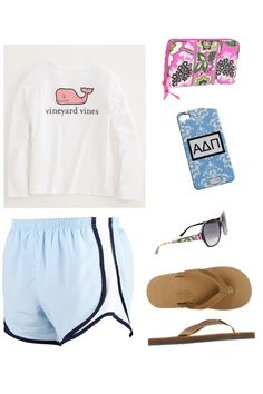 Vineyard vines, Nike shorts, vera Bradley wallet+ sunglasses and rainbows flip flop out fit by me my style Cute Lazy Outfits, Sporty Outfits, Athletic Outfits, Summer Outfits, Gym Outfits, Athletic Shorts, Summer Clothes, Fashion Outfits, Rainbow Flip Flops
