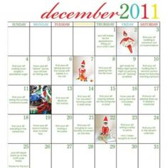 Elf on a Shelf idea calendar for Jennifer and Christina.and anyone else who has the elf visiting during the holidays! Christmas Love, All Things Christmas, Winter Christmas, Christmas Ideas, Xmas, Merry Christmas, Christmas Calendar, Burlap Christmas, Winter Fun