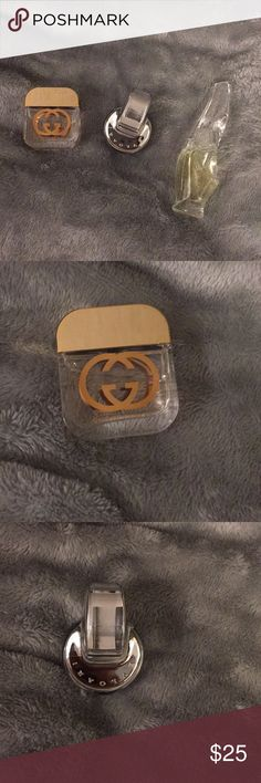 3 DELUXE SAMPLES BRAND NEW DELUXE SAMPLES GREAT FOR TRAVEL, DECOR, OR GIFTS  💎GUCCI GUILTY .06 fl oz 💎BVLGARI OMNIS CRYSTALLINE .17 fl oz 💎DONNA KARAN CASHMERE MIST .17 fl oz Gucci Makeup