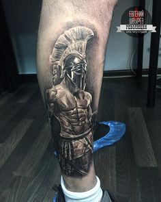 A roman gladiator represents the integral role of the gladiatorial battles as a way for the people of Rome to purge their violence by watching others. It also relates to the role of violence in the foundation of Rome. Chest Piece Tattoos, Arm Sleeve Tattoos, Forearm Tattoo Men, Leg Tattoos, Dope Tattoos, Arm Tattoos For Guys, Tatoos, Tattoo Manche, Ancient Greek Tattoo