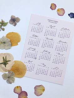 Personalised wedding calendars - pretty paper details for your wedding Wedding Calendar, Wedding Countdown, Personalised Calendar, Perfect Bride, Engagement Gifts, Modern Calligraphy, Bride Gifts, Wedding Couples, Personalized Wedding