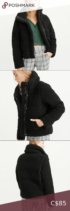 Abercrombie and Fitch Teddy Puffer Featuring a cropped cut, zip- and snap- up front, flattering channels and warm, jersey-lined pockets and body. Imported. Condition: 8/10 Size XS but can also fit a small. Abercrombie & Fitch Jackets & Coats Puffers Cropped Hoodie, Sweater Hoodie, Black Parka Coat, Abercrombie And Fitch Jackets, Sleeveless Jacket, Jacket Brands, Vintage Shorts, Jackets For Women, Winter Jackets