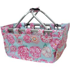 ad11cf92e3 Rose Floral Print Collapsible Picnic Basket-Nav