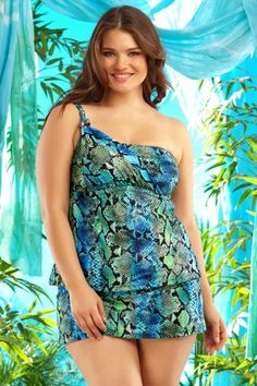941b036a07e Becca Etc By Rebecca Virtue Animal Instincts Asymmetrical Tankini Top.  Jessica Matheson · Swim Suits for Plus Size Women