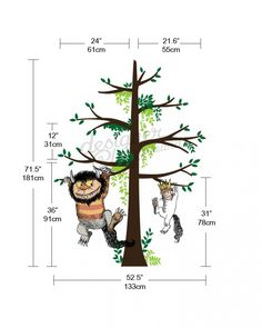 Max and Carol hanging on tree wall decal. A great addition to your reading corner in a room. Decorate your house with us now at very affordable prices Baby Boy Room Decor, Baby Boy Rooms, Baby Boy Nurseries, Kids Rooms, Baby Room, Nursery Themes, Nursery Decor, Nursery Room, Floating Books