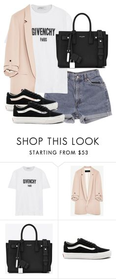 """Untitled #3560"" by theeuropeancloset ❤ liked on Polyvore featuring Levi's, Givenchy, Yves Saint Laurent and Vans"