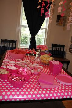 Pink Birthday Party- accomplished!    Pink idea: pink wrapping paper as table runner, pink food, pink decorations. Remember these ideas.