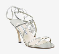 Manolo Blahnik Silver Sandals with a sparkly charm. These ...