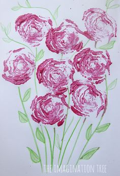 How easy is this!  Just grab some celery and pink paint! Then you have celery printed rose art craft for kids.