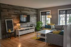 Grey yellow and wood living room decor. Living Room Remodel, Home Living Room, Living Room Decor, Living Spaces, Interior Decorating, Interior Design, Home Remodeling, Family Room, Sweet Home