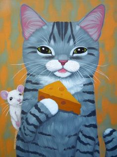Cheese by Cary Chun Lee Cool Cats, I Love Cats, Crazy Cats, Kitten Drawing, Cute Cat Drawing, Frida Art, Gatos Cats, Cat Mouse, Cat Cards