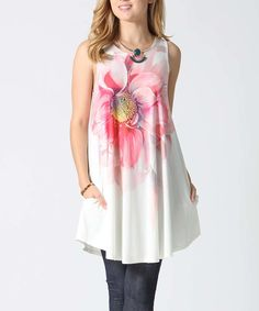 42POPS Pink & White Floral Side Pocket Sleeveless Tunic - Plus by 42POPS #zulily #zulilyfinds