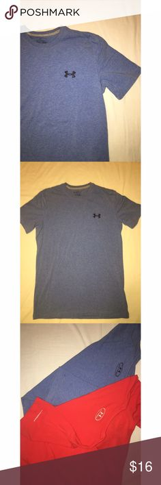 Under Armour heat gear men's tee  (size S) NWOT Under Armour heat gear, loose fit,  men's small, crew neck tee in heather blue. Has logo on left chest and on back just below the neckline. The right sleeve has a tiny logo and the word Charged. Washed but never worn. Under Armour Shirts Tees - Short Sleeve
