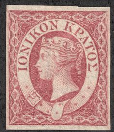 """Ionian Islands, 1859 Scott 3 lake """"Queen Victoria"""" Issues of the British Protectorate Old Stamps, Queen Victoria, My Stamp, Stamp Collecting, Postage Stamps, Printmaking, Mythology, Vintage World Maps, Great Britain"""
